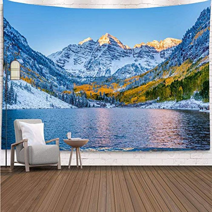 YISURE Colorado Snow Mountain Lake Landscape Wall Tapestry - Only £3.99!