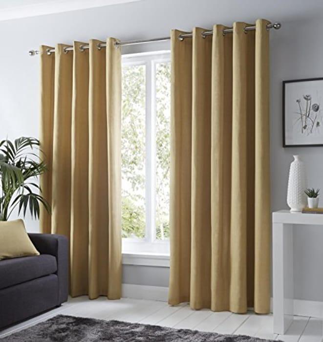 "Fusion 100% Cotton Pair of Eyelet Curtains - 46"" Width X 54"" Drop (117 X 137cm)"