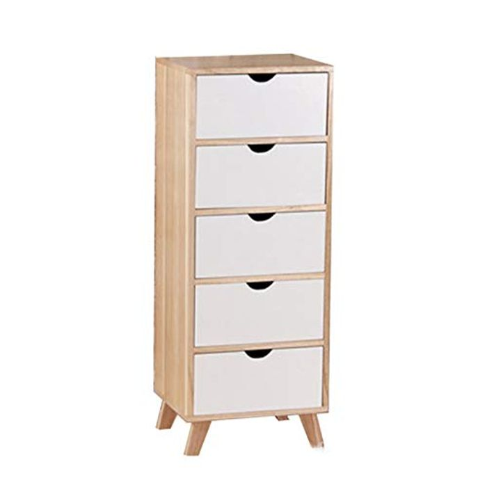 Nordic Style Storage Cabinet, Wooden Floor Cabinet with 4/5 Drawers,