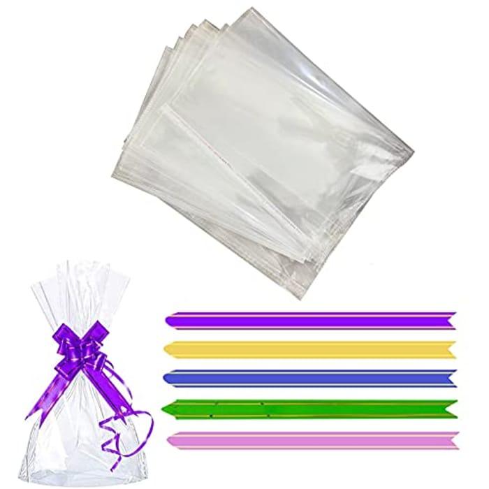 100pcs Clear Cellophane Bags 6 X 10-Inch + Metallic Ties
