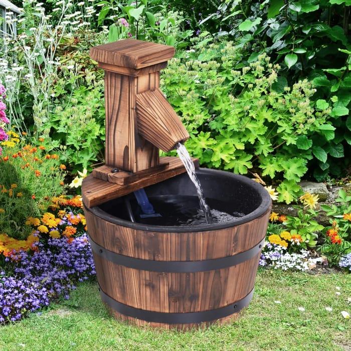 Fir Wood Barrel Pump Fountain W/ Flower Planter, 27x37H Cm Free Delivery