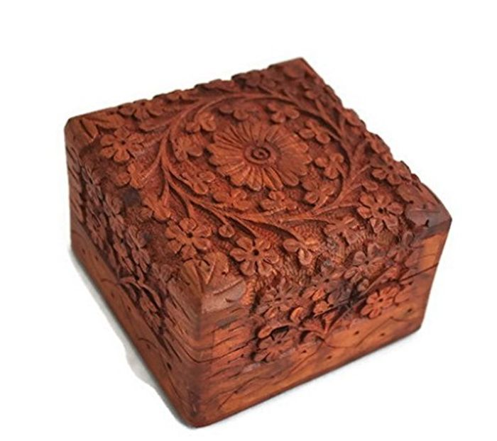 Beautifully Hand Carved Wooden Keepsake Box Jewellery Chest