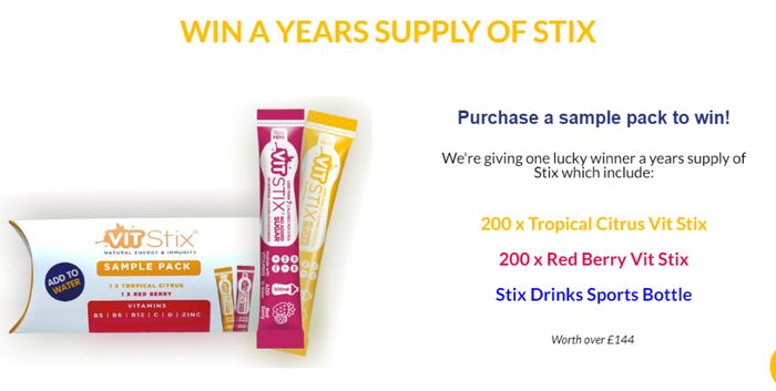 Free Vit Stix Sample Pack & Prize Draw Entry With Prize Worth £144 *Just Pay P&P