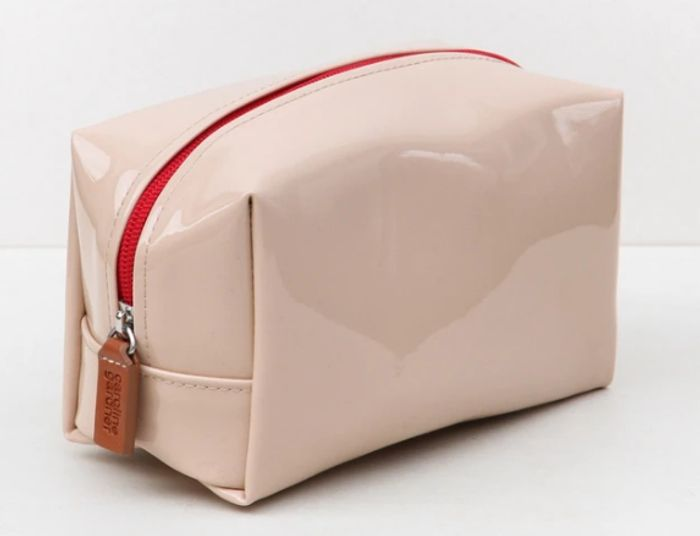 Nude Patent Cube Cosmetic Bag