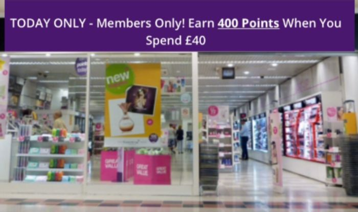 Today Only : Members Only Earn 400 Points When You Spend £40