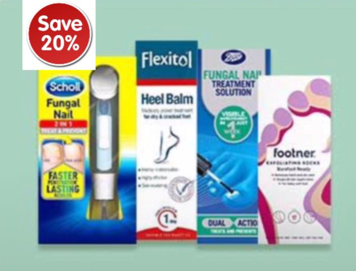 Save 20% on Foot care,Buy1 Get 2nd 1/2 Price+ Free Gift Buy 2 Boots Brand