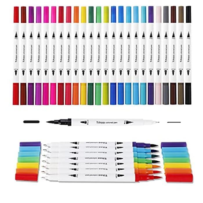 Tihoo Dual Tip Brush Pens, 24 Colors