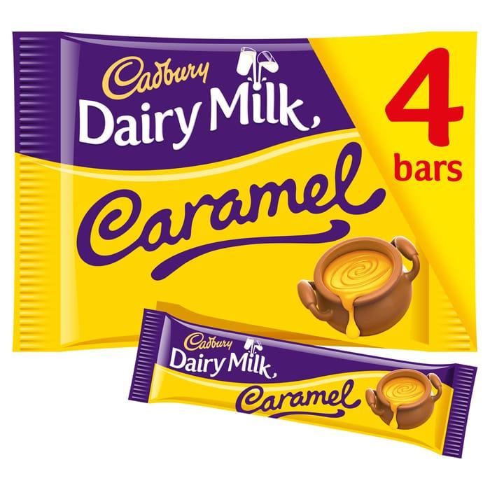 Cadbury Dairy Milk Caramel Chocolate Bar Multipack 4 Pack - Only 98p