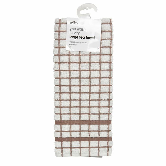 Wilko Large 100% Egyptian Cotton Tea Towel in Asso Rted Colours