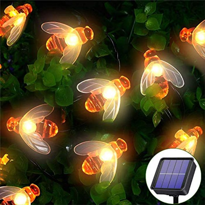 DEAL STACK - Waterproof Honey Bee Fairy Lights 66LED 9M/28Ft 8 Modes + £1 Coupon