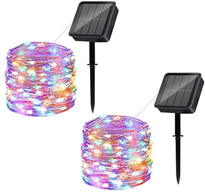 DEAL STACK - Waterproof 120LED Solar Powered Fairy Lights, 2 Pack + 10% Coupon