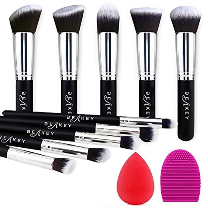 BEAKEY 10pcs Makeup Brush Set + 2pcs Blender Sponges