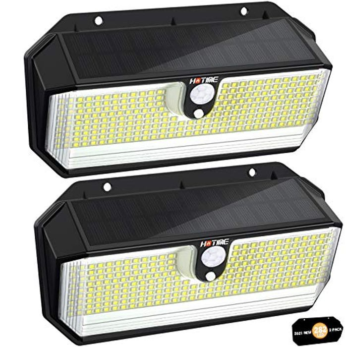 2600LM 282 LED Solar Powered Security Lights (2-Pack)