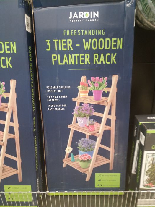 3 Tier Wooden Planter Rack