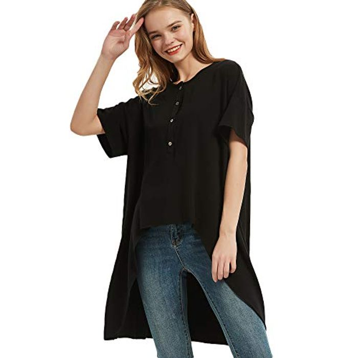 DEAL STACK - S.CHARMA Black Summer Top for Women + 10% Coupon