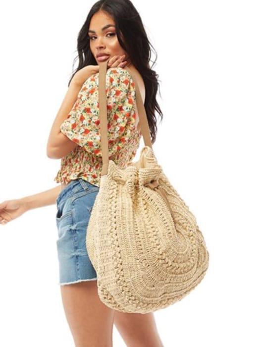 South Beach Womens Oversized Crochet Bag Natural