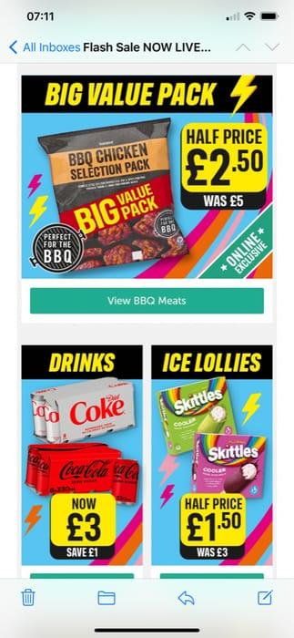 BBQ Packs Half Price at Iceland