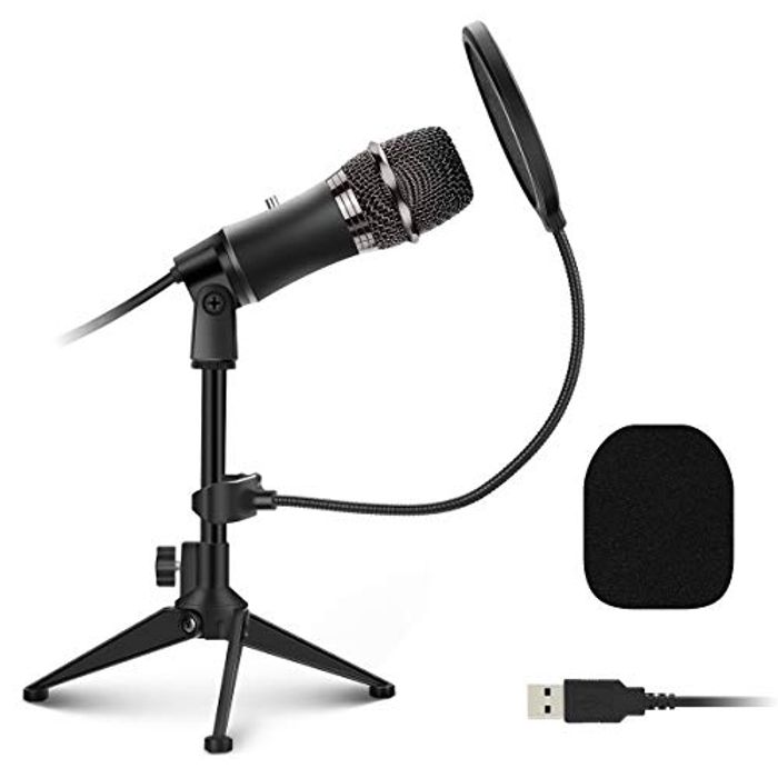 EIVOTOR USB PC Microphone Plug and Play with Tripod Stand