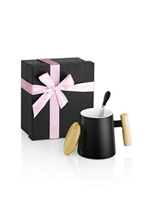 Large Ceramic Mug with Wooden Handle Spoon Lid & Gift Box Packing - Only £5.59!