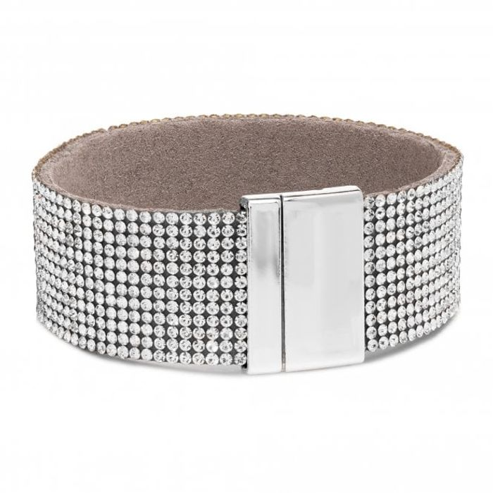 Jon Richard Silver Plated Crystal Charm Snake Chain Bracelet (Gift Boxed)