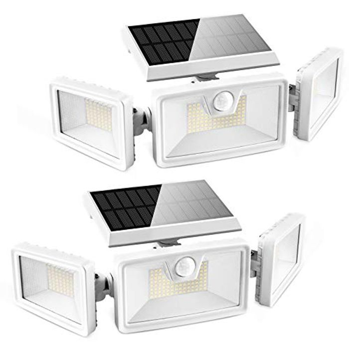 2pk 188 LED Solar Light Outdoor, 3 Modes Solar Security Motion - Only £12!