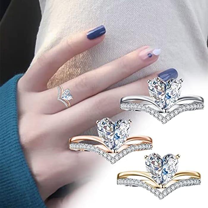 Heart of Ocean Forever Love Heart Silver Ring - Only £2.69!