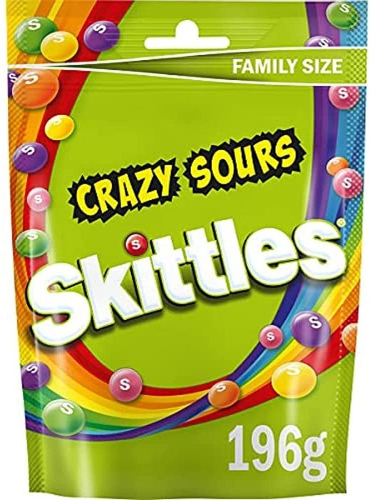 Skittles Sweets, Crazy Sours Sweets, Family Size Pouch, 196 G