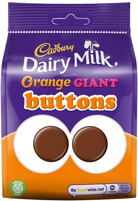 Cadbury Dairy Milk Orange Giant Buttons Chocolate Bag, 110 G
