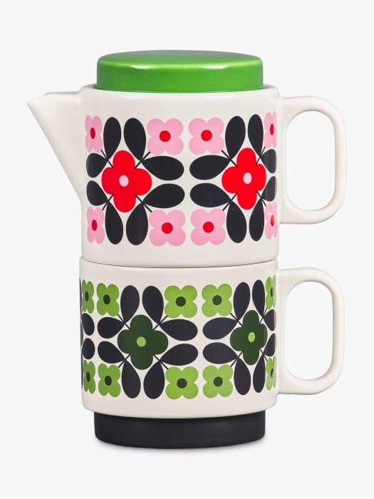 Orla Kiely Flower Tile Tea-for-One Stackable Teapot Set, 400ml