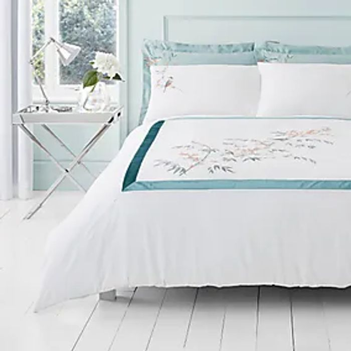 Half Price! Evelyn Blue Embroidered Duvet Cover and Pillowcase Set-Single