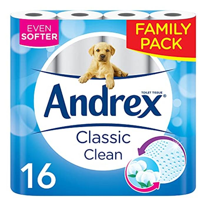 SAVE £1.48 - Andrex Classic Clean Toilet Paper, 16 Rolls