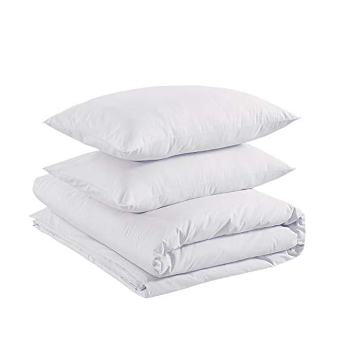 Amazon Basics Cotton Light Duvet Cover Set - 155 X 200 Cm / 50 X 80 Cm, White