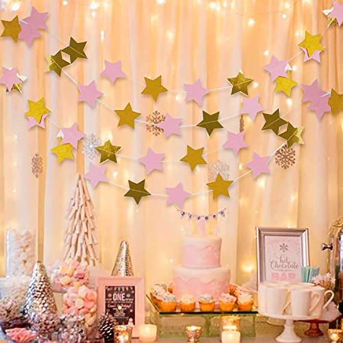 2m Pink Star Garland Hanging Decor