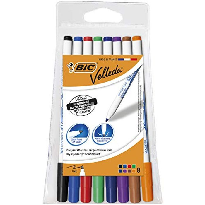 Bic Velleda 1721 Ecolutions Whiteboard Pens, Assorted Colors, Pouch of 8