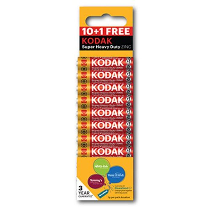Kodak Heavy Duty Zinc Aaa Battery Charity Pk 10+1