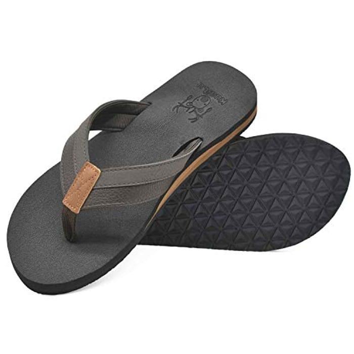 KuaiLu Flip Flops Mens Leather Arch Support Flat Summer