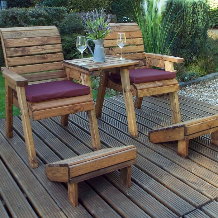 Charles Taylor Wooden Deluxe Lounger Set  Free Del. Burgundy/ Green/ Grey
