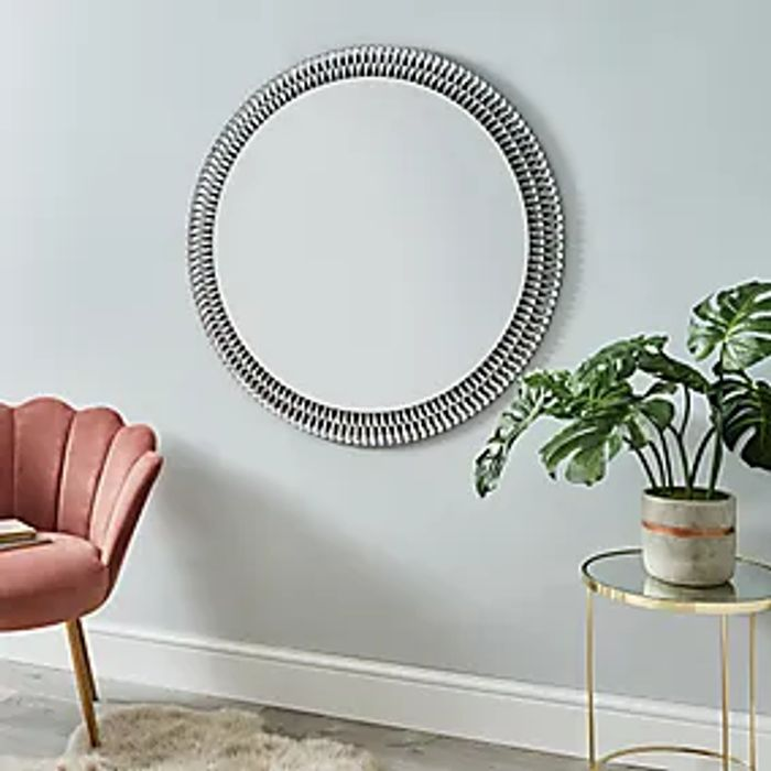 Glam Gem Edge round Mirror 100cm