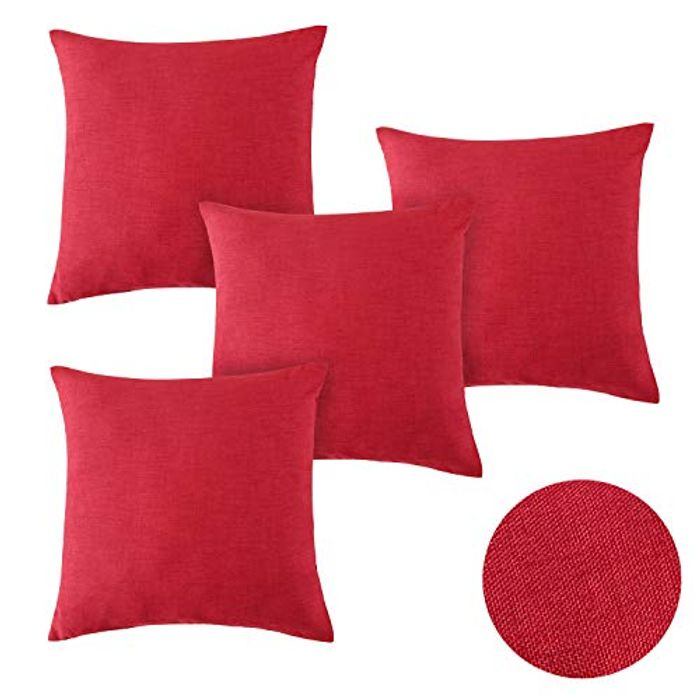 Deconovo Set of 4 Solid Faux Linen Woven Fine Pillow Covers - Only £3.58!