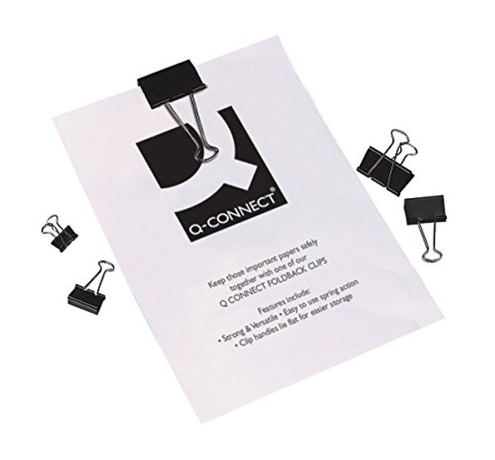Q-Connect Foldback Clip, 19mm, Black, Pack of 10 - Only £0.71!