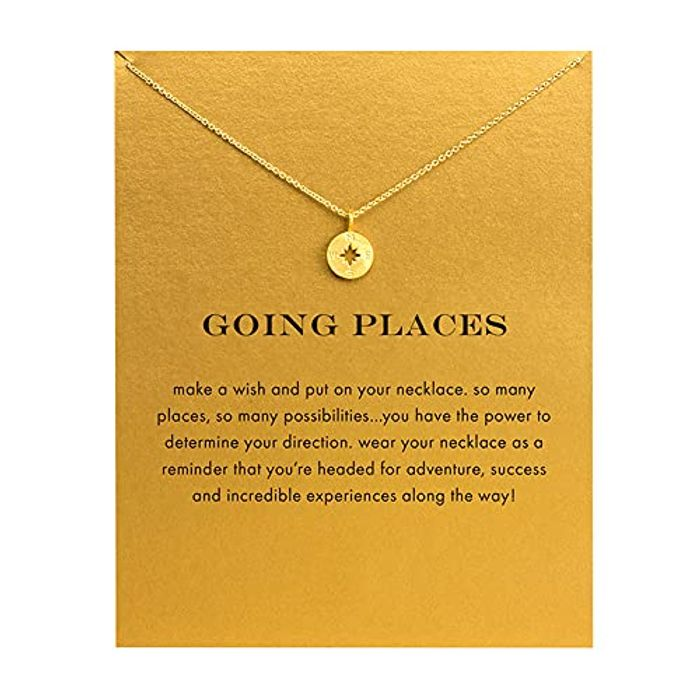 Friendship Gold Sun Good Luck Pendant Chain with Message Gift Card - Only £4.94!