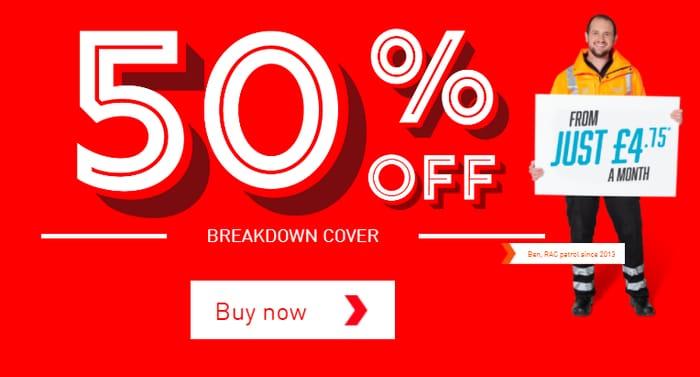 Flash Sale - 50% Off RAC Vehicle Breakdown Cover - £4.75p/m!