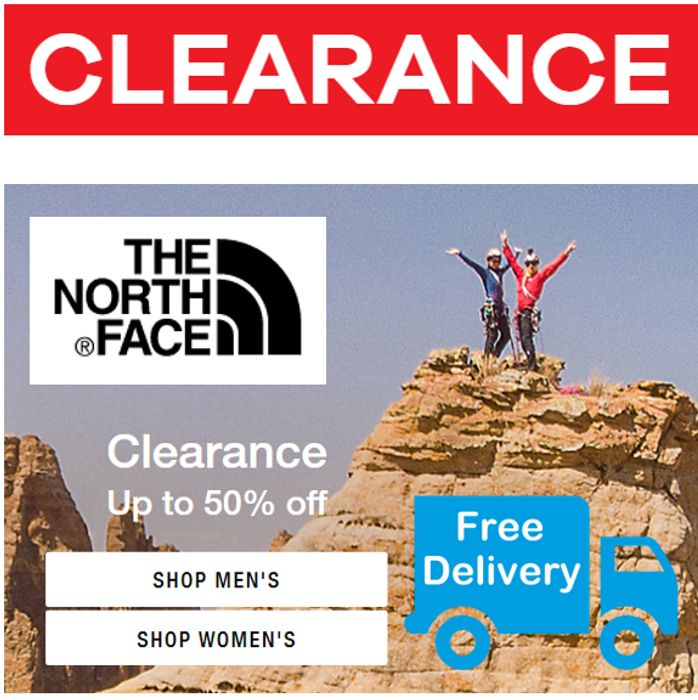 THE NORTH FACE - CLEARANCE SALE - up to 50% OFF + FREE DELIVERY