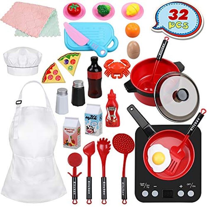 Anpro 32pcs Kitchen Toy Set