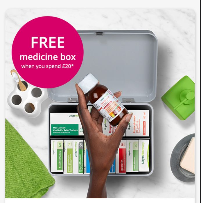 FREE Medicine Box When You Spend £20 on LloydsPharmacy Products