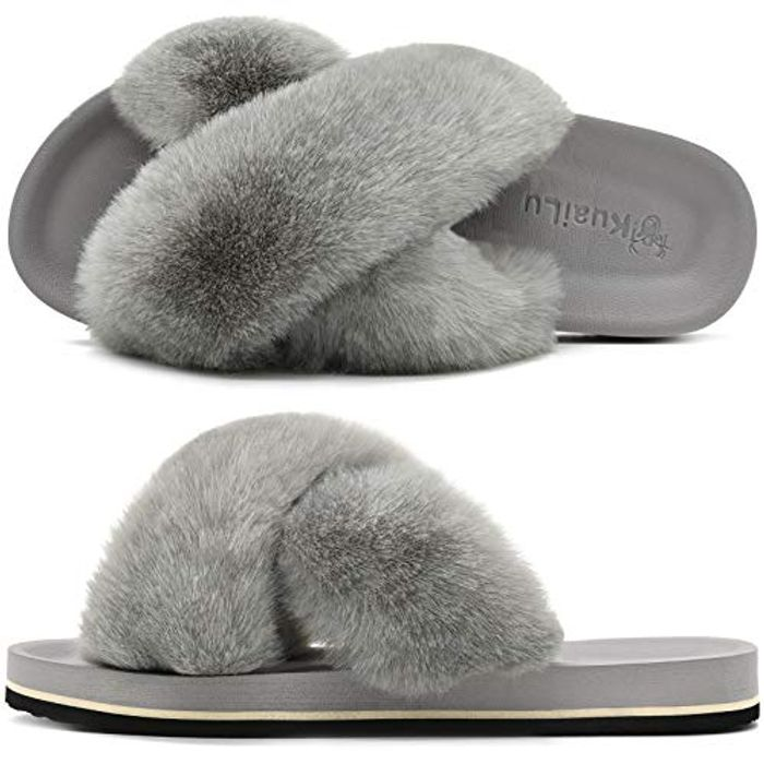 Womens Fluffy Sliders Ladies Cross Band Faux Fur Slippers