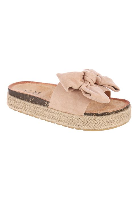 Womens Nude Bow Slip-on Sandals