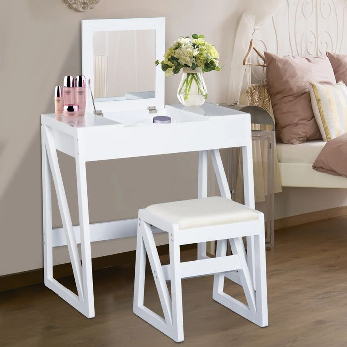 Dressing Table with Cushioned Stool and Flip-up Mirror