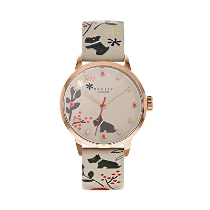 Radley Floral Ladies Dove Grey Leather Strap Watch
