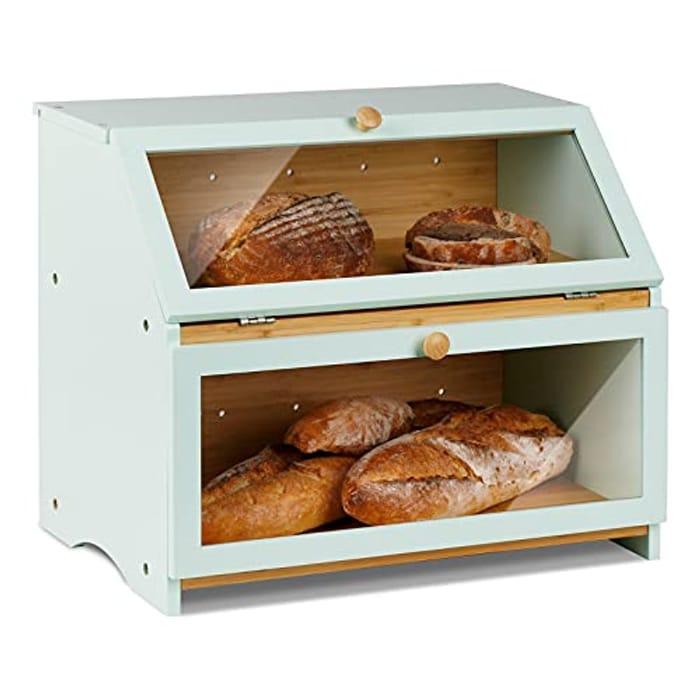 Deal Stack Accessories Double Decker Bamboo Bread Bin